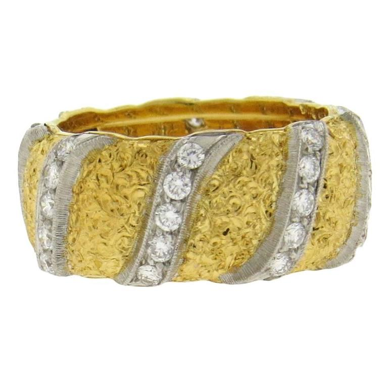 Buccellati Diamond Gold Wide Wedding Band Ring