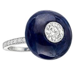 Sapphire GIA Cert Diamond Platinum Button Ring