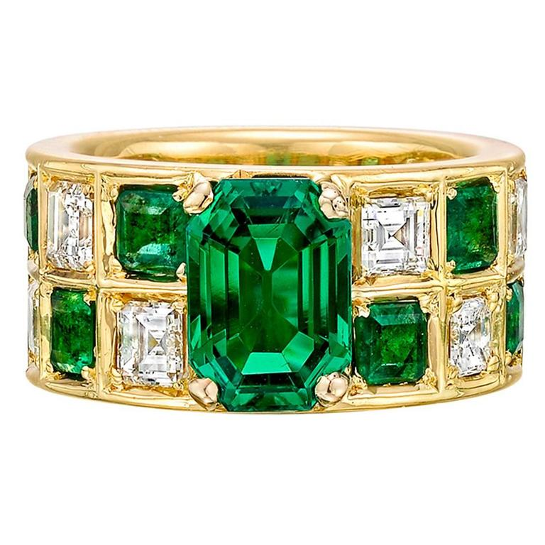 Colombian Emerald Diamond Gold Wide Band Ring For Sale