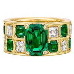 Colombian Emerald Diamond Gold Wide Band Ring