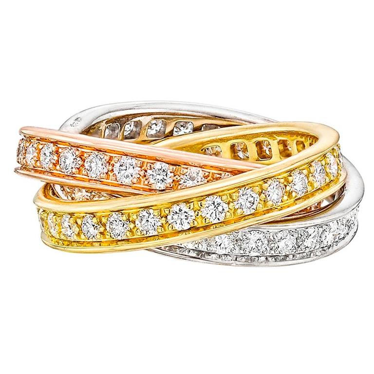 ring gold yellow rings img fashion ladies round wedding tri band crossover color itm diamond