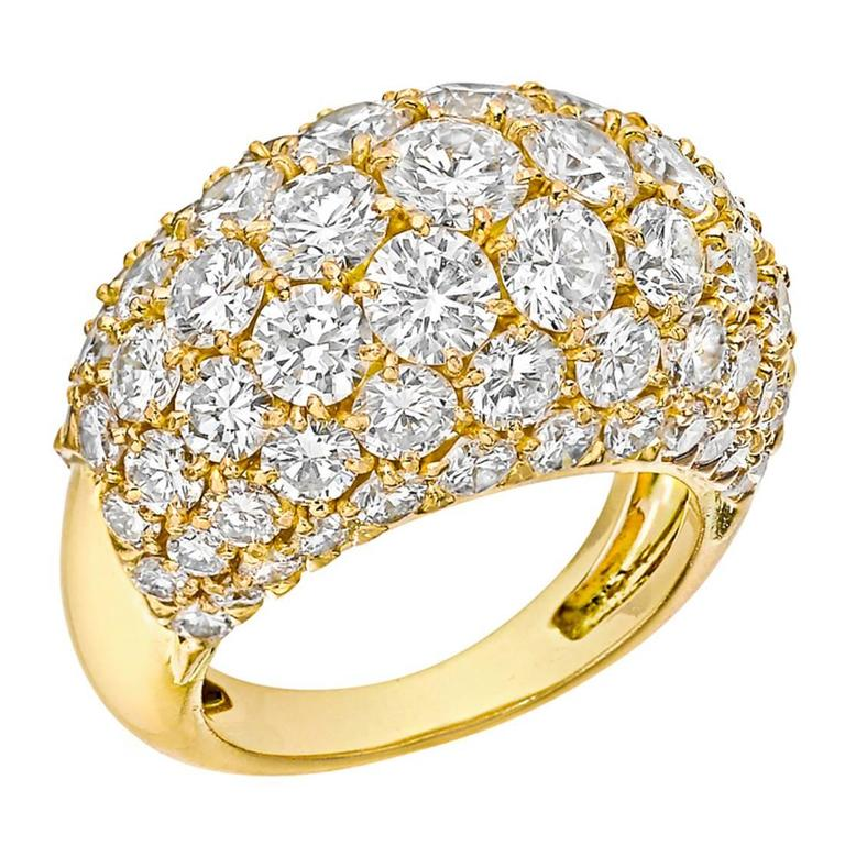Van Cleef & Arpels Pavé Diamond Gold Dome Ring For Sale