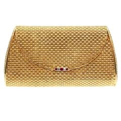 Elegant Handmade Italian Ruby Diamond Gold Evening Bag