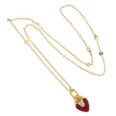 La Nouvelle Bague Enamel Diamond Gold Pendant Long Necklace