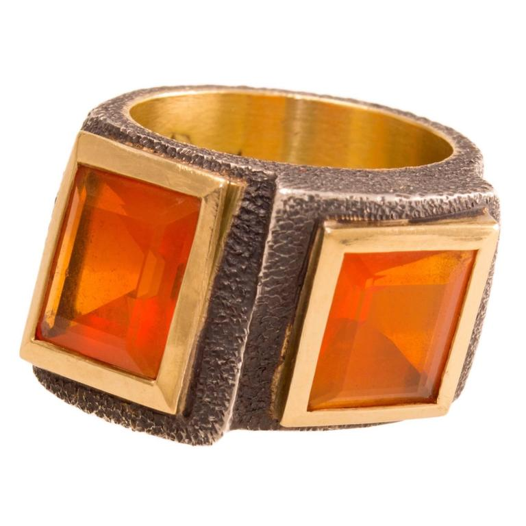 Marilyn Cooperman Fire Opal Blackened Silver Gold Ring 1