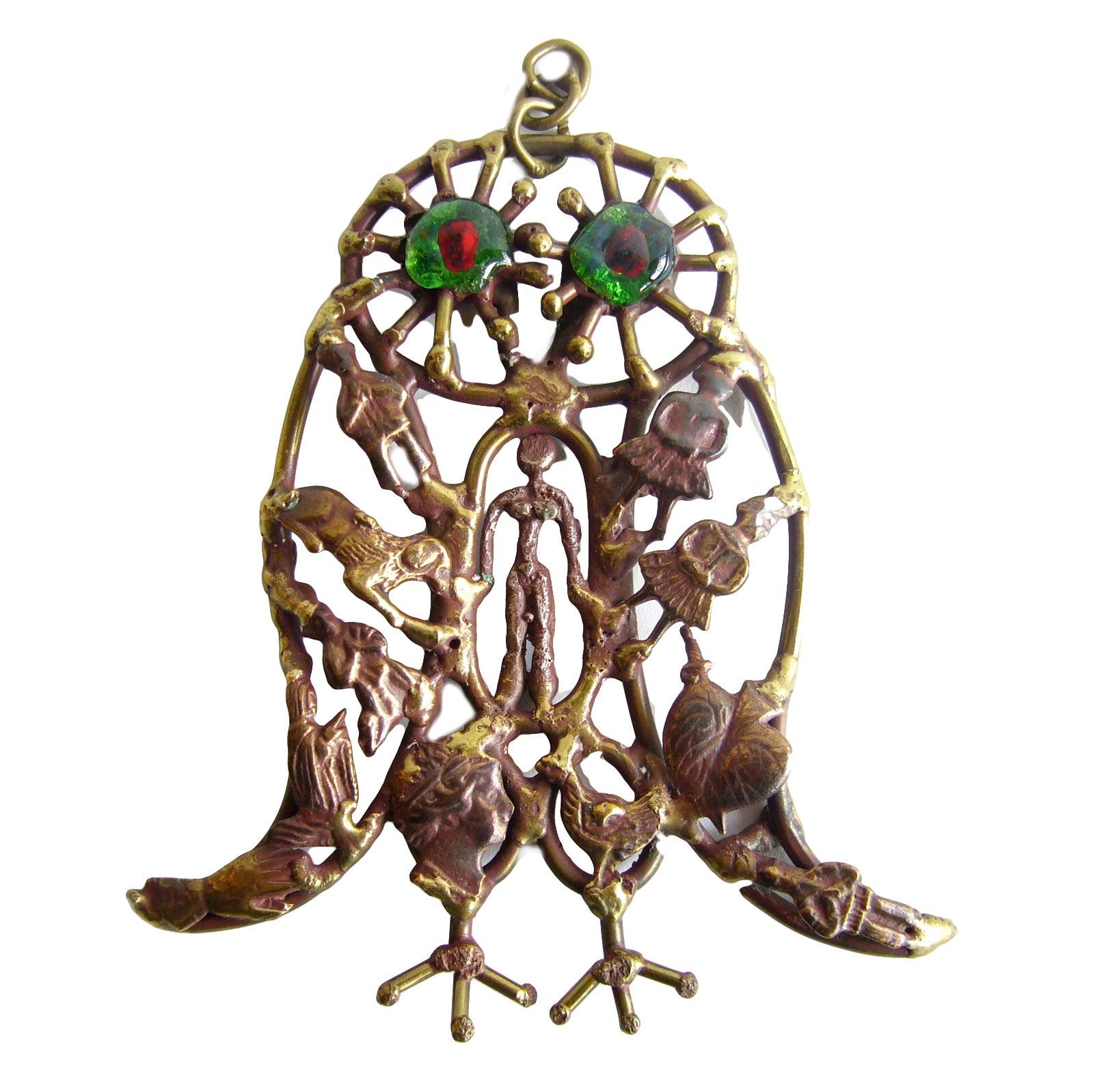 Pal Kepenyes Bronze Glass Milagro Owl Pendant Necklace