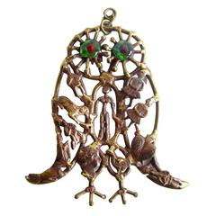 Pal Kepenyes Bronze Glass Milagro Owl Pendant Necklace