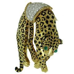 David Webb Enamel Emerald Diamond Gold Platinum Leopard Brooch
