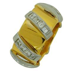 1980s Seaman Schepps Diamond Gold Band Ring