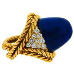 1970s Boucheron Paris Lapis Lazuli Diamond Gold Ring