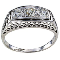 1920s Art Deco Three-Stone Diamond White Gold Engagement Ring