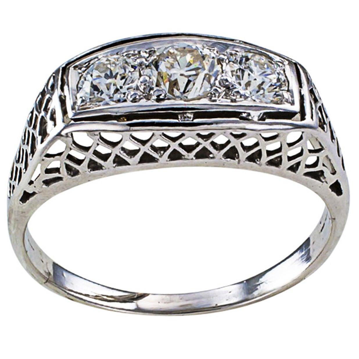 1920s Art Deco Three-Stone Diamond White Gold Engagement Ring