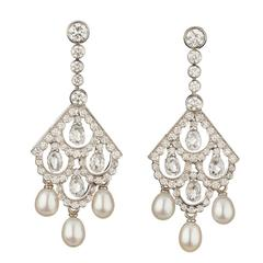 Nigel Milne Pearl Diamond Gold Drop Earrings