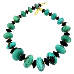 Highly Polished Natural Glowing American Turquoise and Black Onyx Necklace