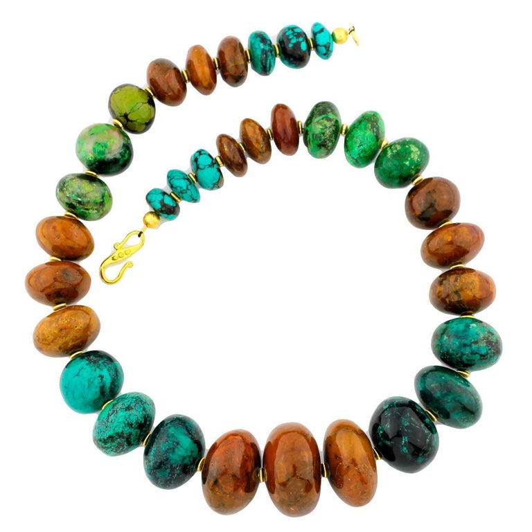 Graduated Multi-Color Polished Natural Turquoise Rondelle Necklace For Sale