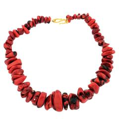 19 Inch Graduated Natural Red Coral Necklace