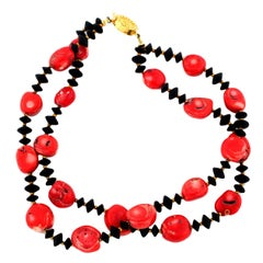 Super Chic Double Strand of Red Bamboo Coral & Black Onyx Necklace