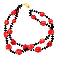 Double Strand of Graduated Red Bamboo Coral & Black Onyx Necklace