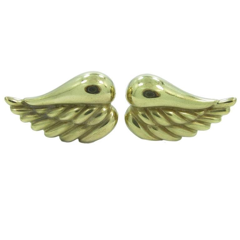 Kieselstein Cord Gold Angel Wing Clip On Earrings