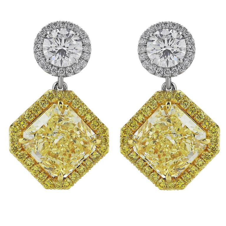 Custom-Made 5.39 Carat Canary Diamonds Gold Platinum Drop Earrings For Sale
