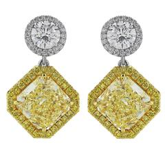 Custom-Made 5.39 Carat Canary Diamonds Gold Platinum Drop Earrings