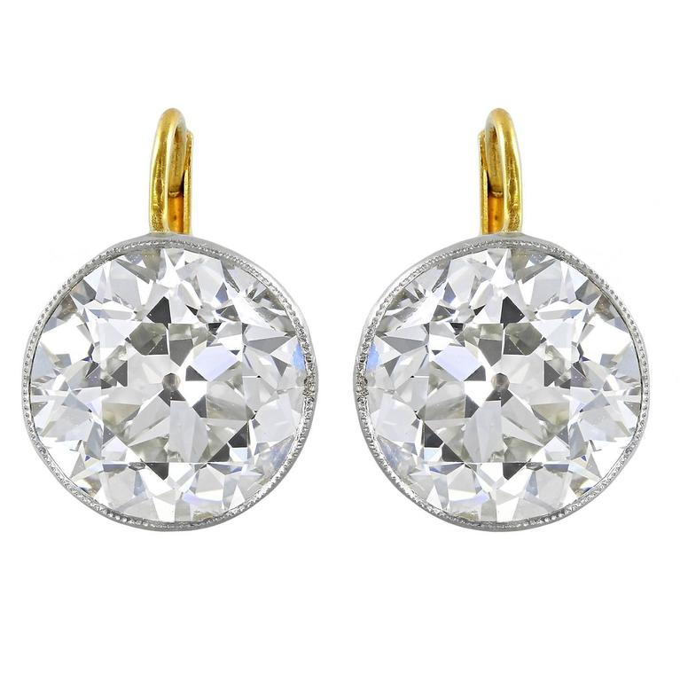 3.06 Carat Old European Cut Diamonds Gold Platinum Drop Earrings