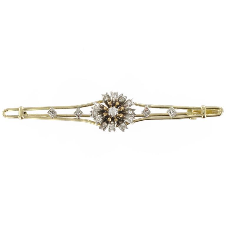 French Antique Diamond Silver Gold Flower Bar Brooch