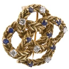 1960s Tiffany & Co. Sapphire Diamond Gold Rope Knot Brooch