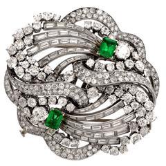 Boucheron Paris Emerald Diamond Platinum Double Clip Brooch