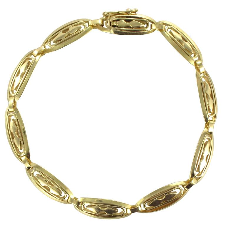 French 1920s Openwork Design Gold Bracelet