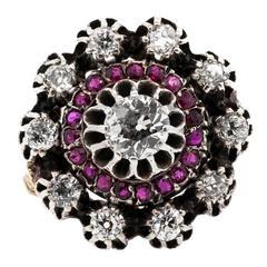 Burma Ruby Old Diamond Silver Gold Ring