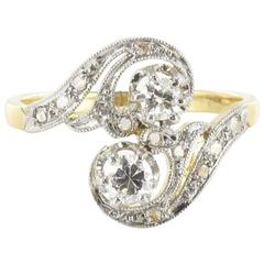 1900s French Antique Diamond Gold S Shaped Ring