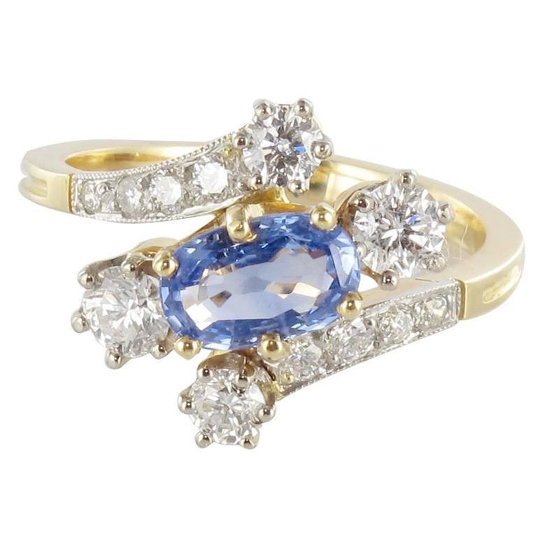 New Antique Style Sapphire Diamond Gold Platinum Ring