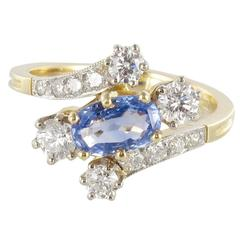 New Antique Style Sapphire Diamond Gold Platinum Ring