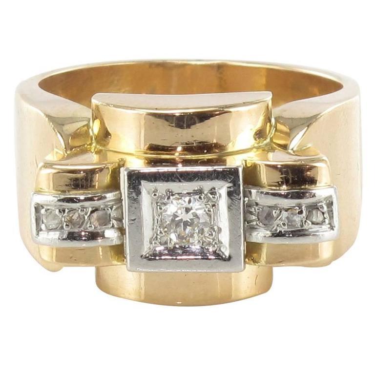 French 1940s Diamond Platinum Gold Tank Ring