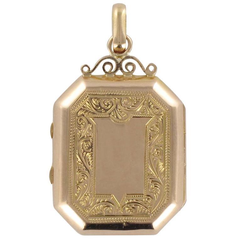 Antique French Locket Golden Lockets Jewelry Gold Fill Vintage Photo Locket Art Nouveau Locket Locket Necklace Pendant