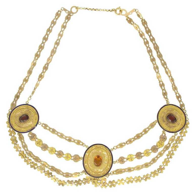1850s French Antique Enamel Gold Necklace