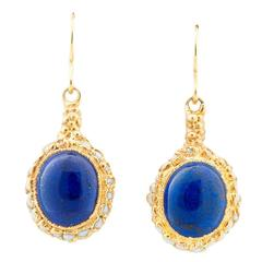 Milena Kovanovic Lapis Lazuli and Seed Pearl Gold Vermeil Silver Earrings