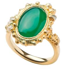 Milena Kovanovic Green Agate and Seed Pearl Gold Vermeil Silver Ring