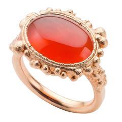 Milena Kovanovic Carnelian Rose Gold Vermeil Silver Ring
