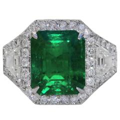 6.10 Carat Untreated Colombian Emerald Diamond Platinum Ring
