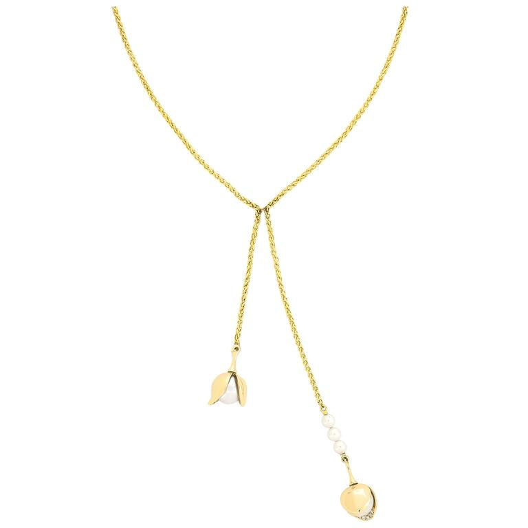 Yellow Gold Pave Set White Diamond Brilliant Akoya Pearls Drop Dangling Necklace