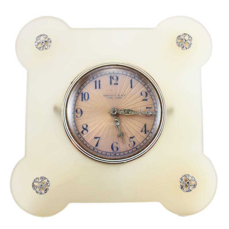 Tiffany & Co. Art Deco Enamel Agate Diamond Desk Clock