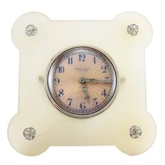 Tiffany & Co. Art Deco Enamel Agate Diamond Desk Clock