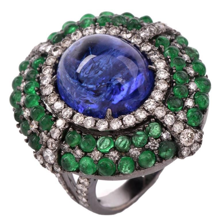 tanzanite emerald cabochon gold ring at 1stdibs