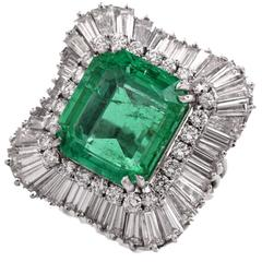 Emerald Diamond Platinum Ballerina Ring