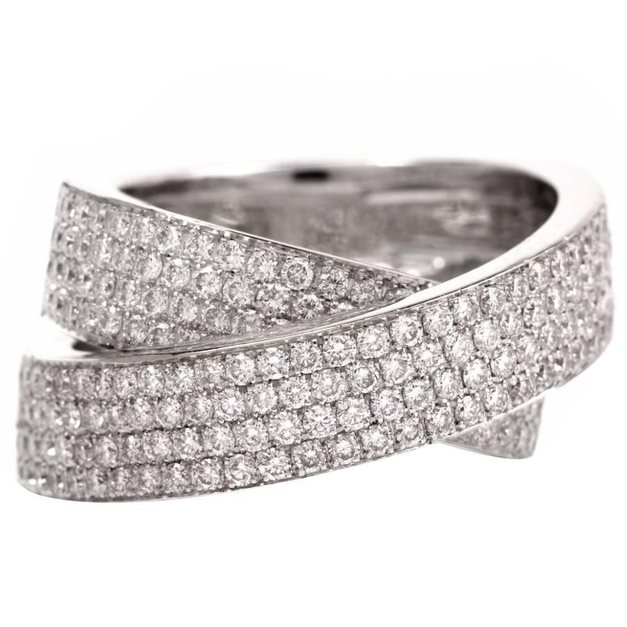 Cluster Bands: Pave Set DIamond Gold Cluster Band Ring At 1stdibs