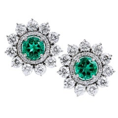 2.69 Carat Zambian Emerald with 3.46 Diamond Earrings in 18 Karat White Gold