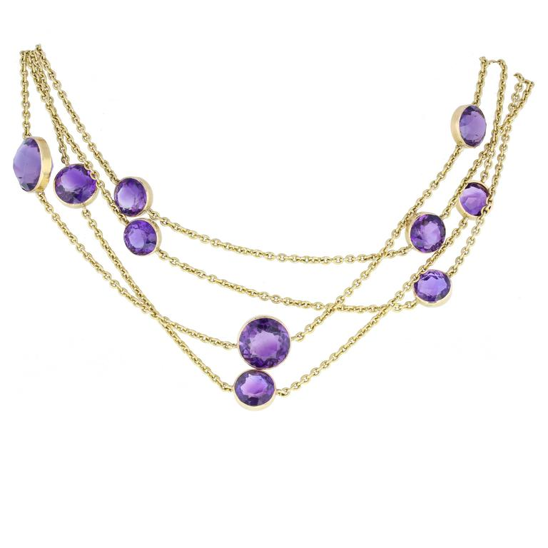 Antique Amethyst Gold Opera Length Chain