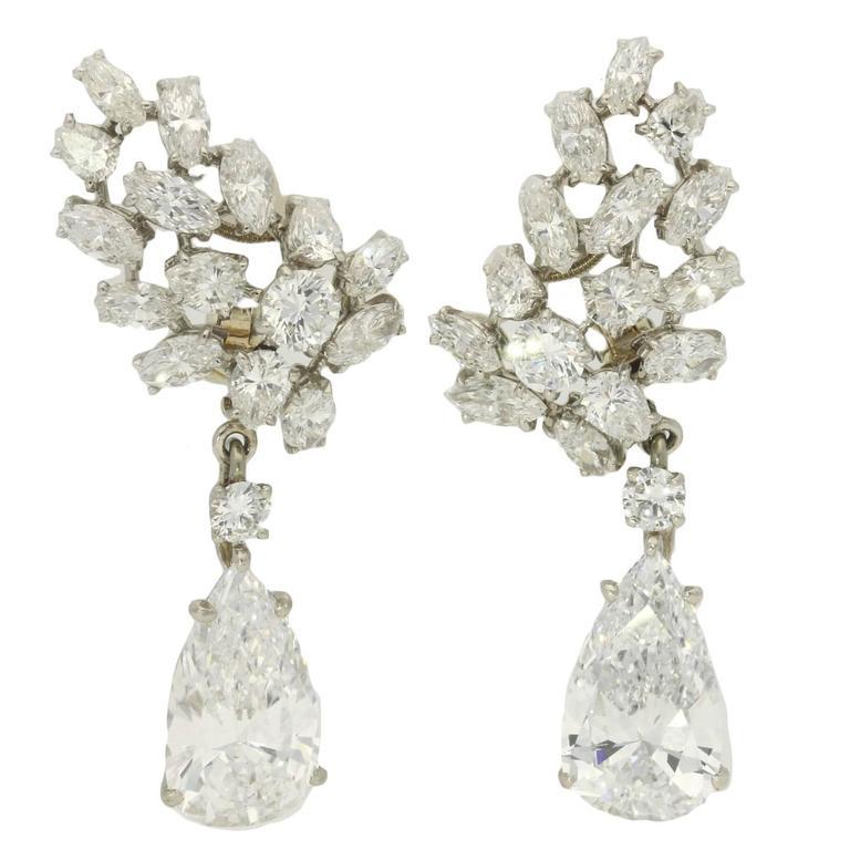 Important Cartier Paris Pear Shaped D Color Diamond Drop Earrings  1